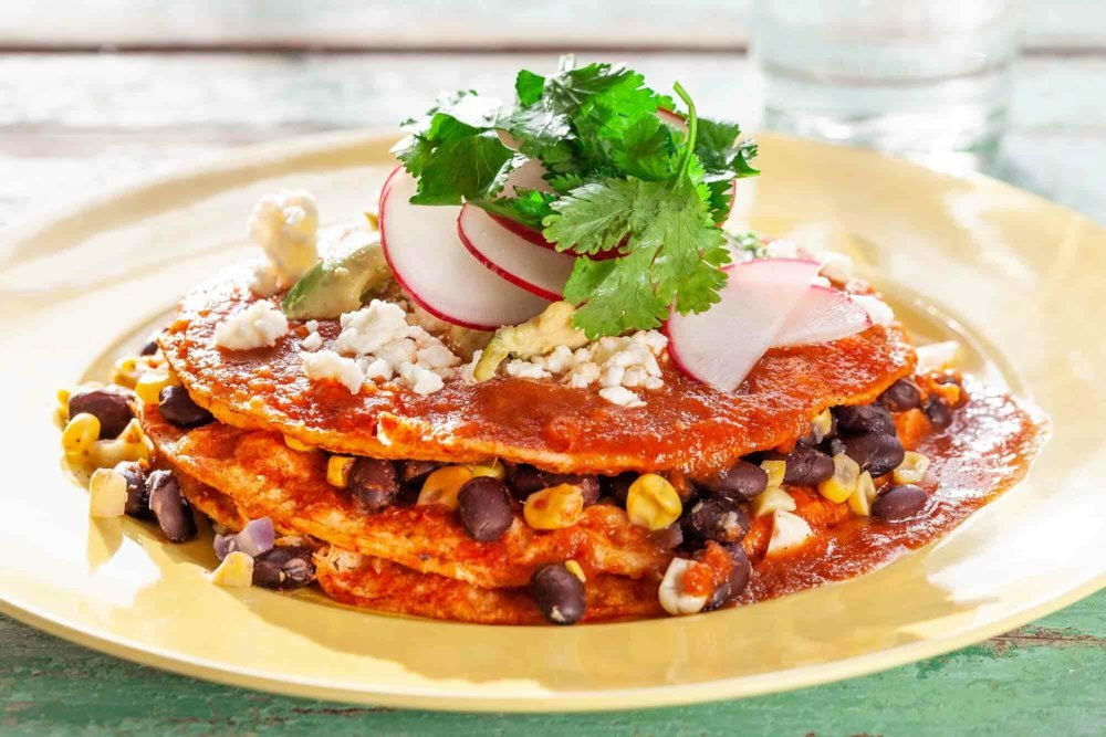 Texas Stacked Enchiladas with Corn and Black Beans